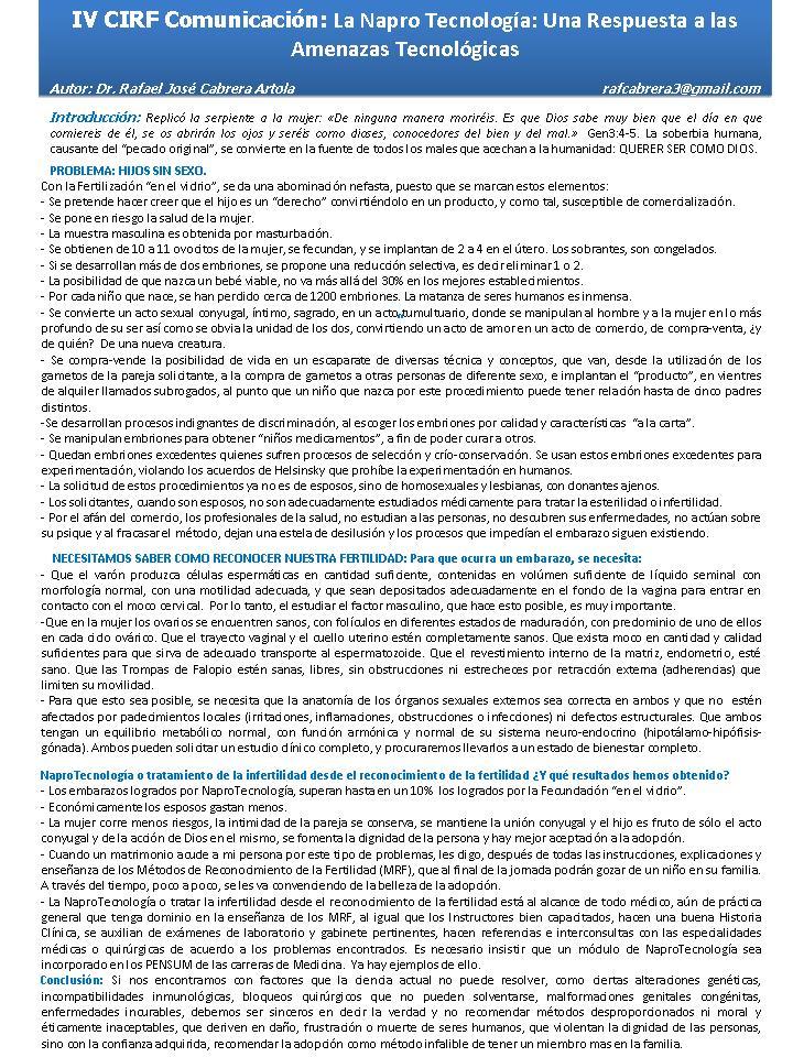 Comunicacion IV CIRF-Rafael Cabrera